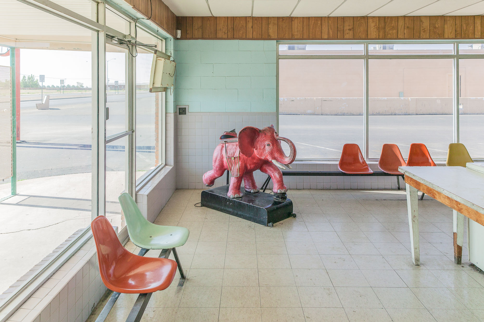 Pink elephant coin operated ride inside laundromat in Roswell, New Mexico by David Zaitz