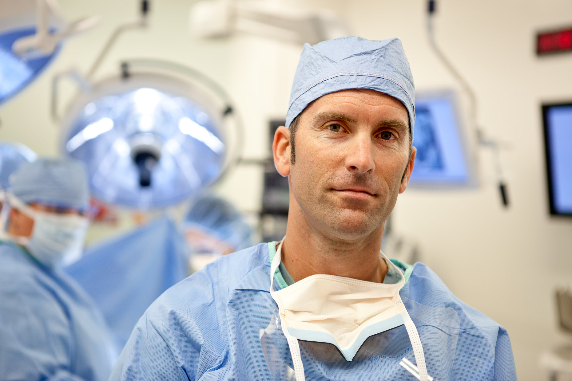 Portrait of surgeon in hospital operating room. Medical, healthcare. David Zaitz Photography.