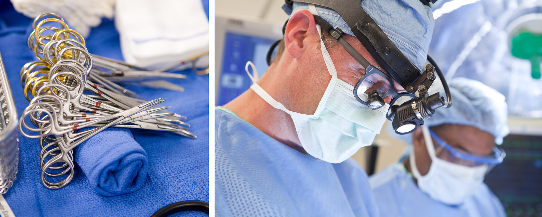 Surgical instruments on operating room tray and close up of surgeon during operation in hospital. Medical, healthcare. David Zaitz Photography.