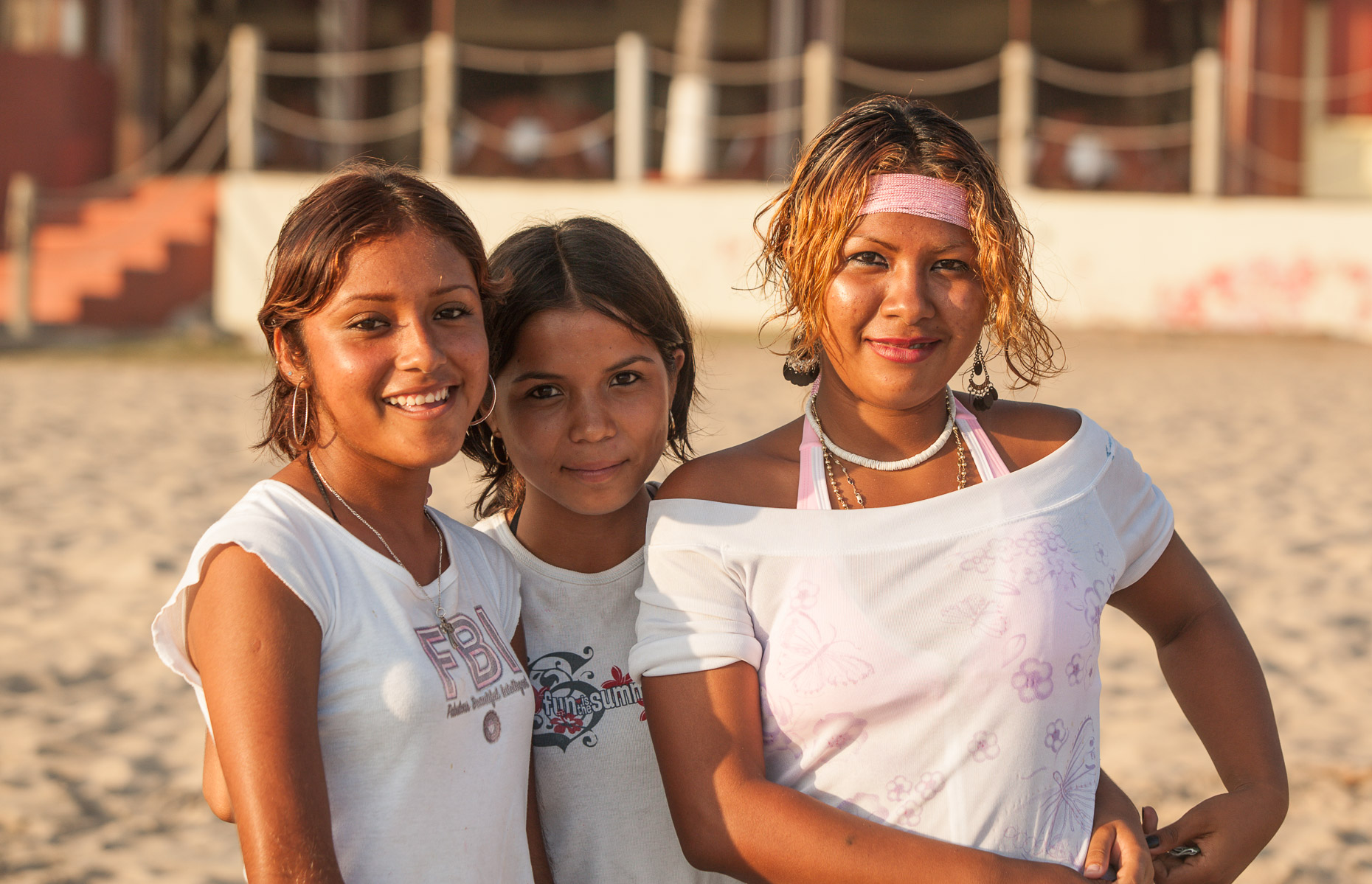 Portrait of three girls on beach of Ixtapa Mexico by David Zaitz