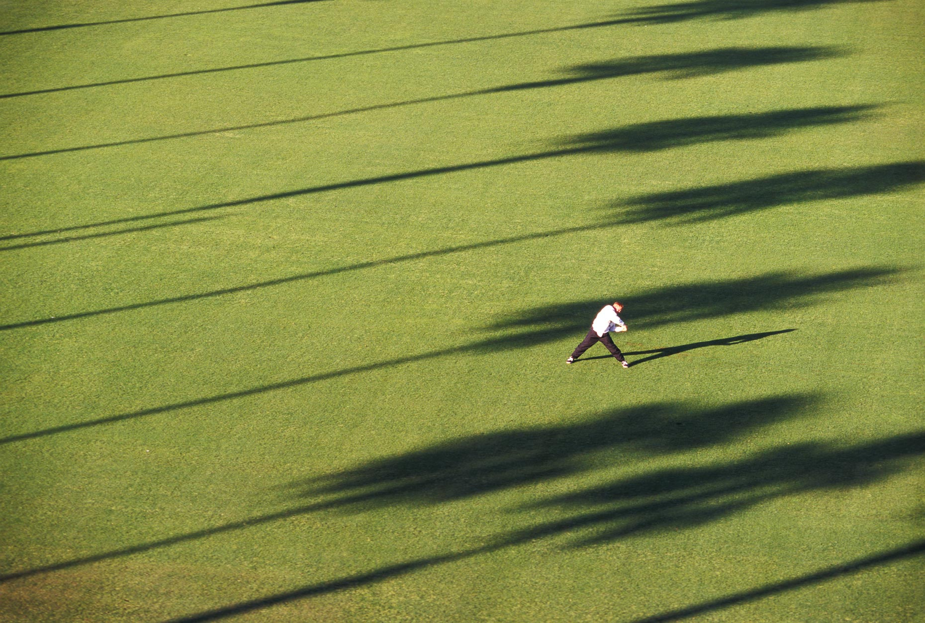 Person doing work out stretch on grass lawn with shadows of palm trees. Fitness. David Zaitz Photography.