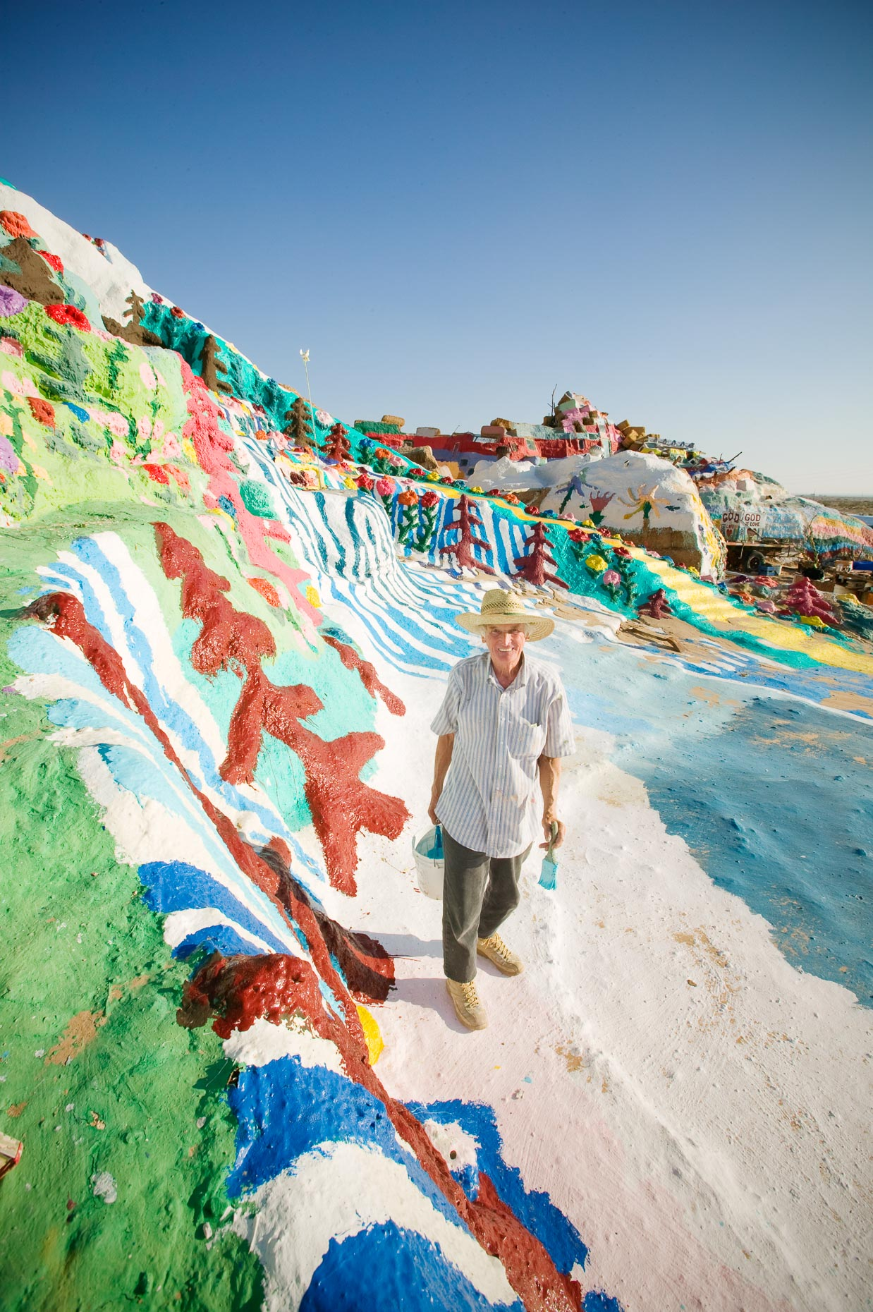 Portrait of Leonard Knight, creator of Salvation Mountain near Niland, California, folk art installation, by David Zaitz