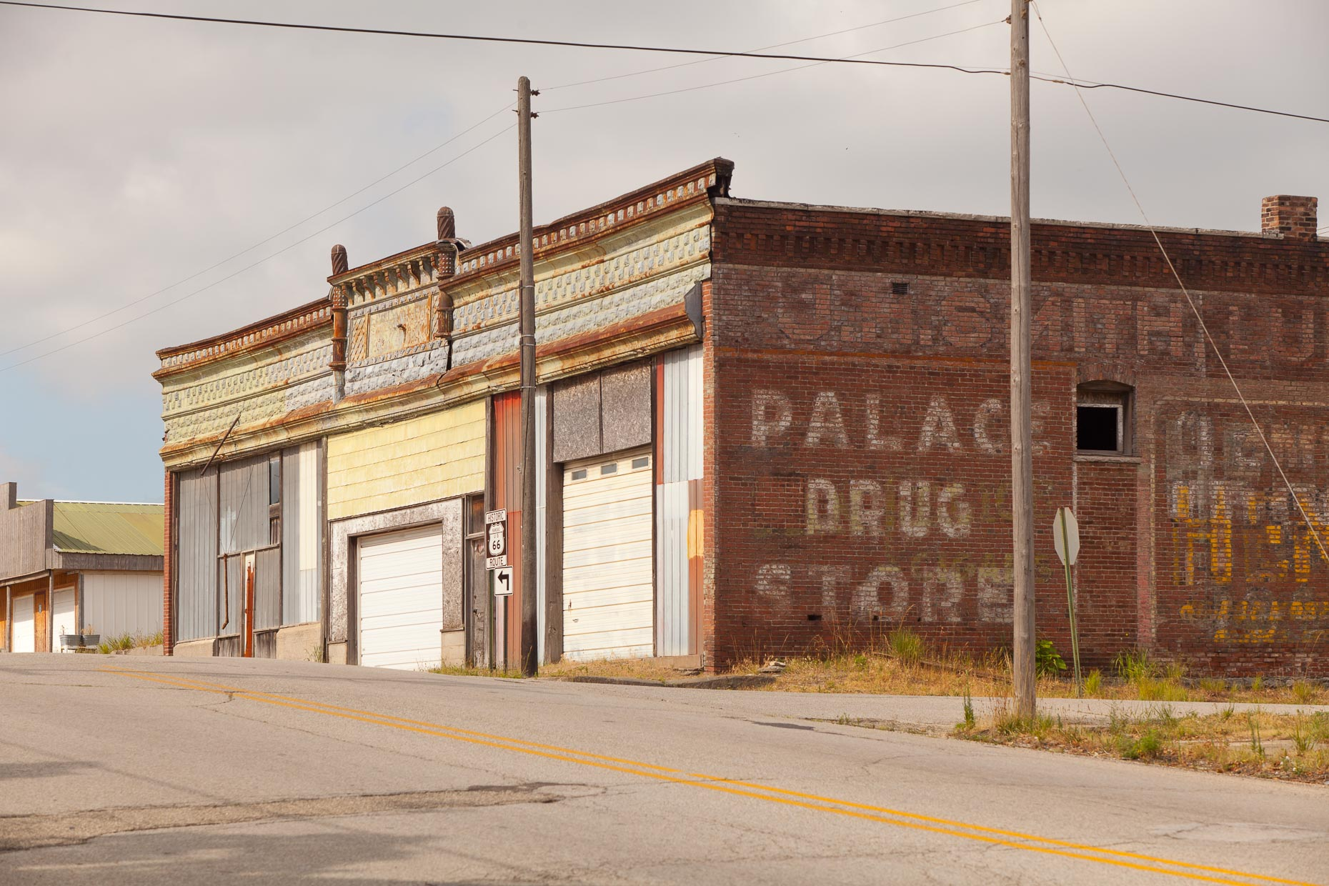 Abandoned commercial brick buildings along historic Route 66 by David Zaitz