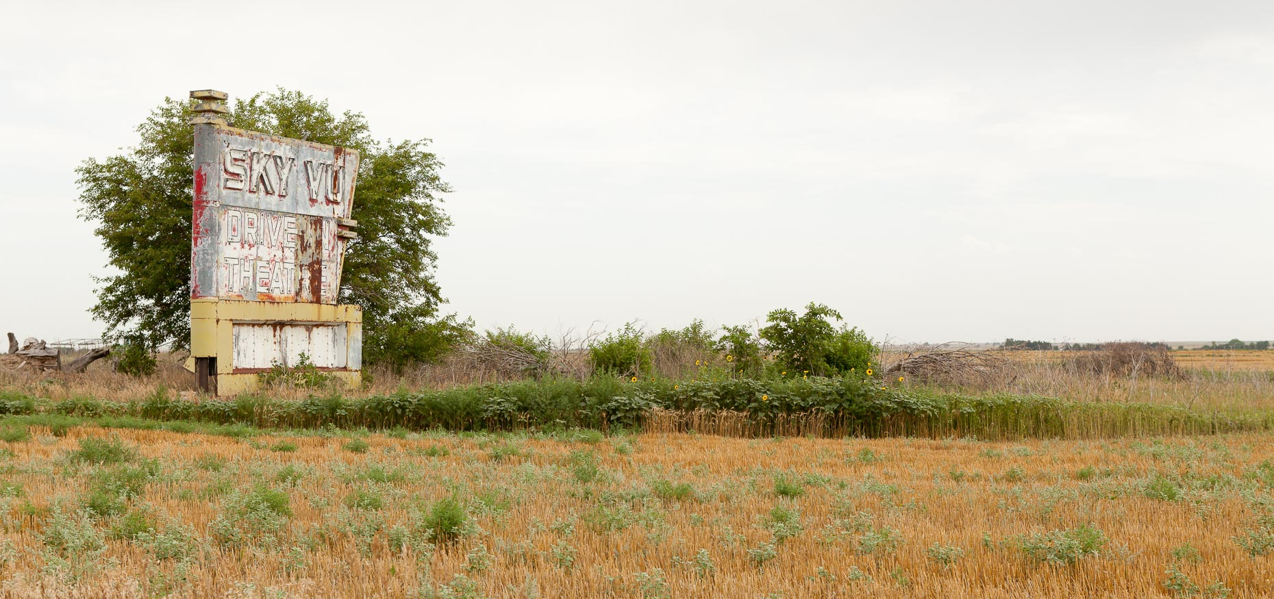 Sign for SKY VUE drive in theater closed, abandoned in Russell, Kansas by David Zaitz