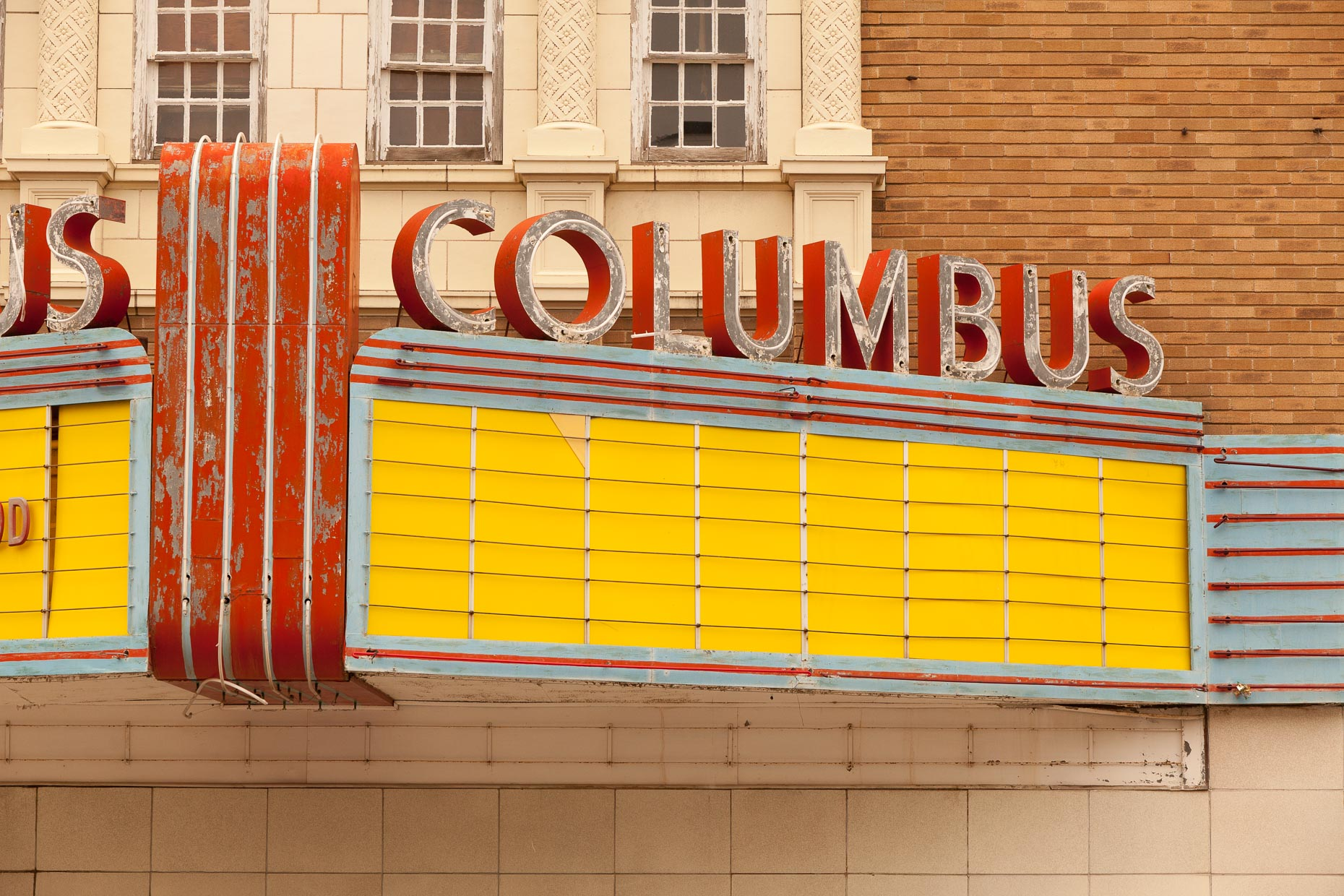 Movie theater marquee sign with neon COLUMBUS sign by David Zaitz.