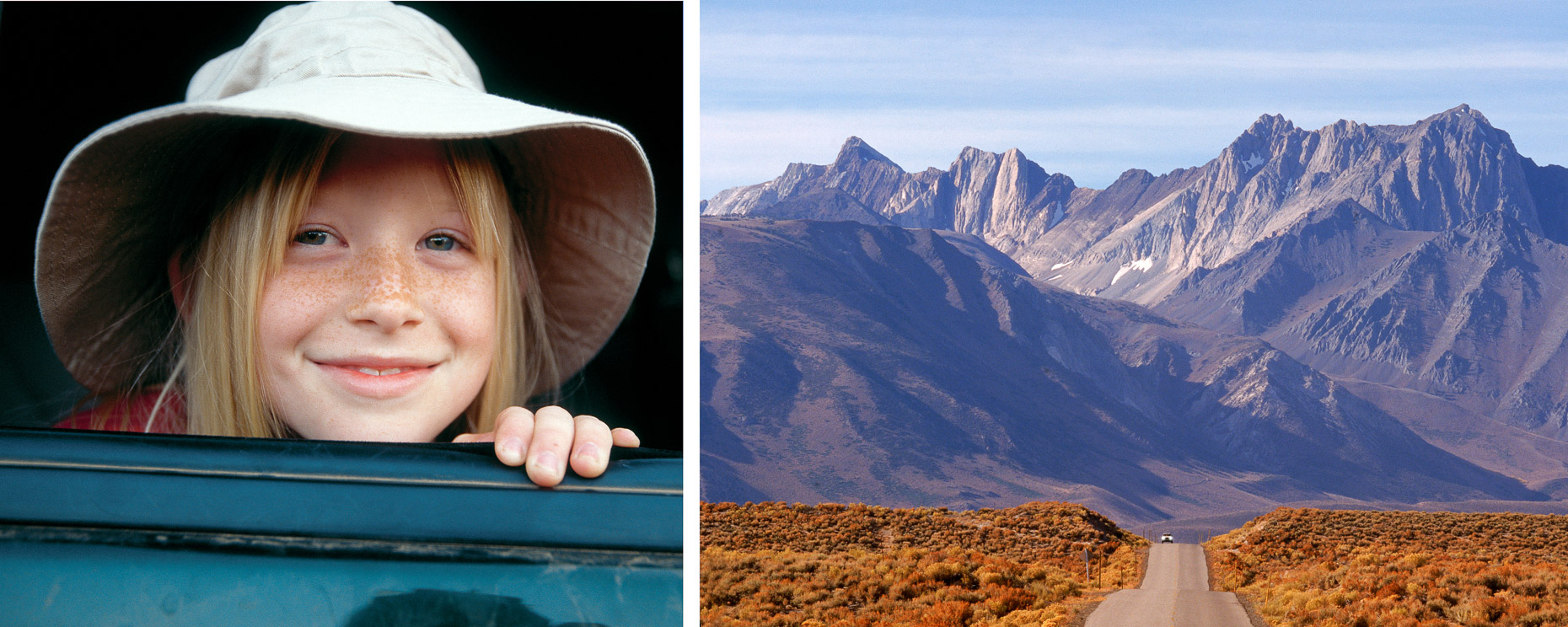 Diptych consisting of two images: girl wearing hat looking out card window paired with car on long road leading to dramatic mountain range in Owens Valley, California by David Zaitz