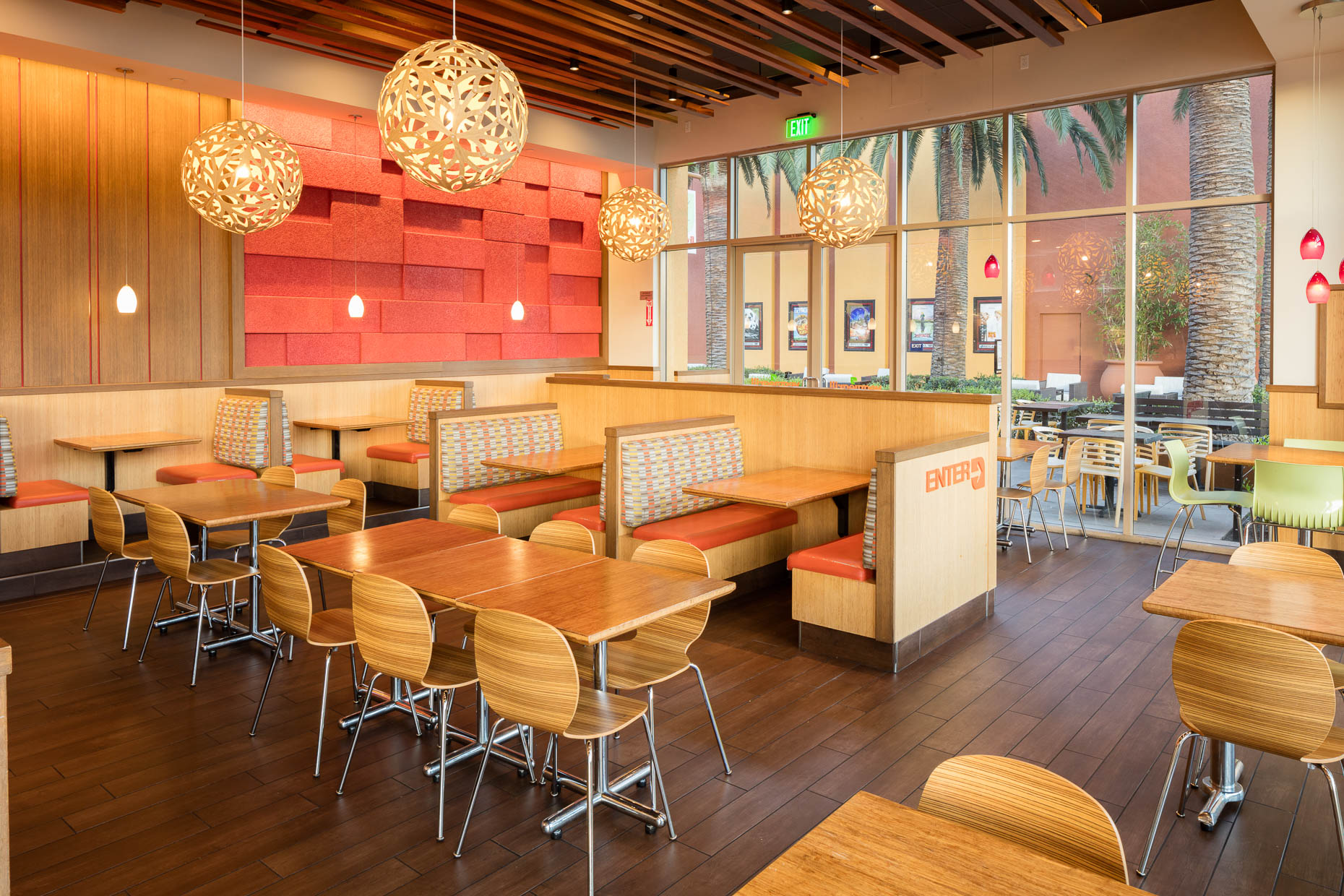 Interior architecture photography of commercial restaurant Veggie Grill in Los Angeles, California.