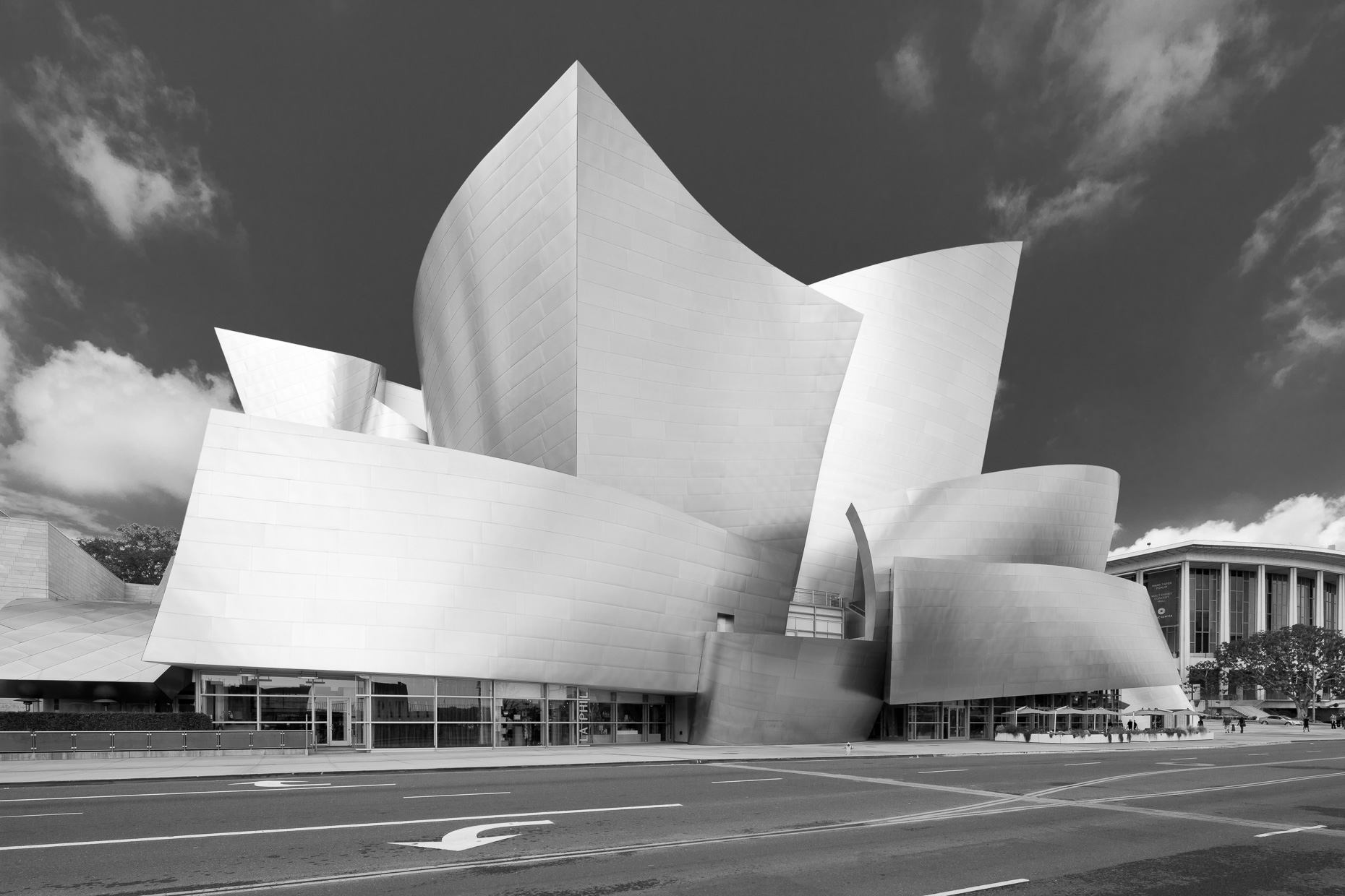 Walt Disney Concert Hall black and white architecture shot. Los Angeles, California.  David Zaitz Photography.