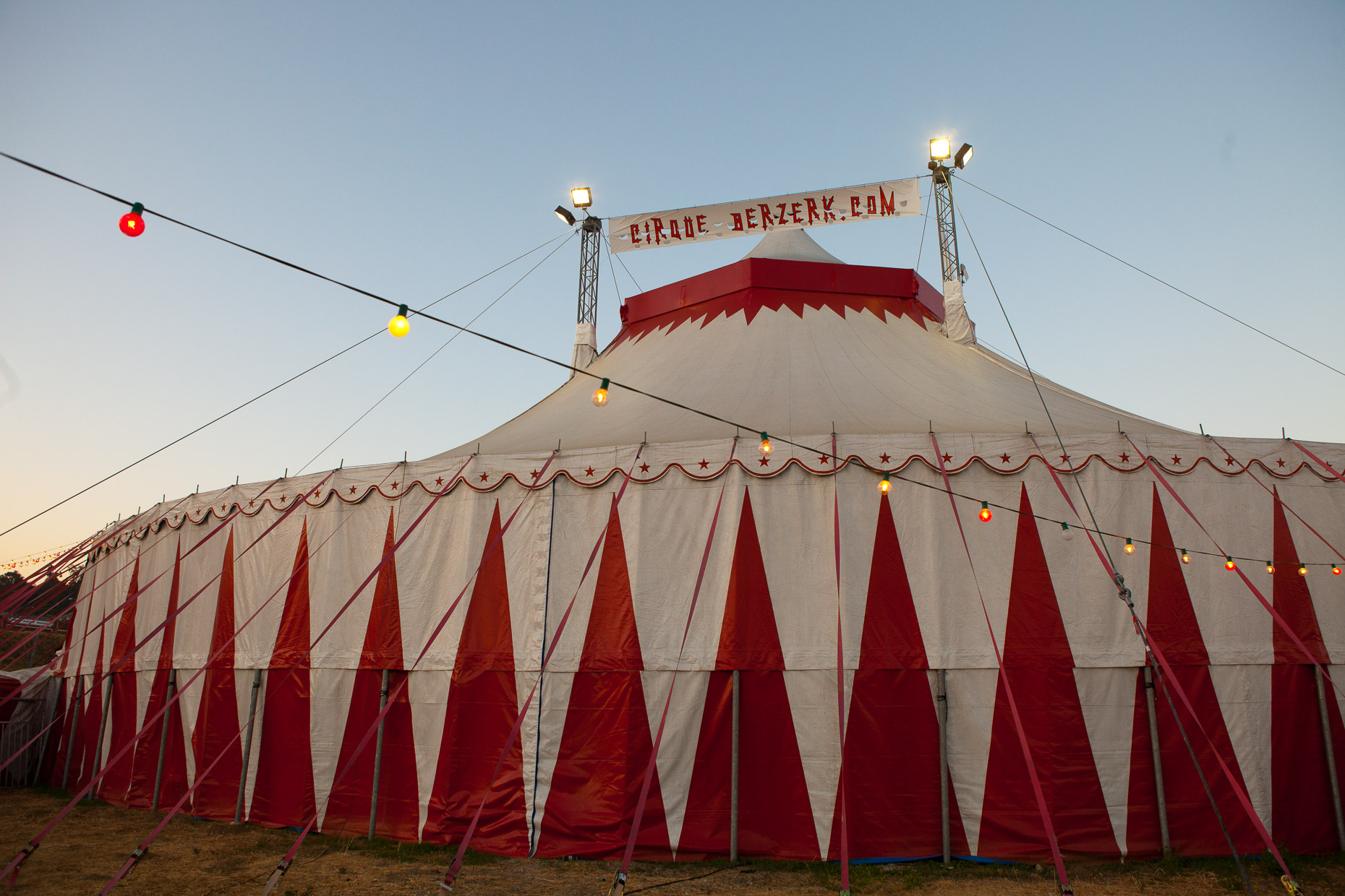 Circus tent at Cirque Berzerk circus performers, by David Zaitz