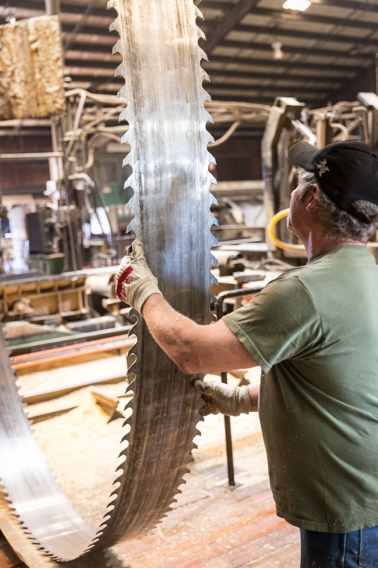Man worker in lumber mill working with large band saw blade, removing from saw to be sharpened, Malheur Lumber Company mill in John Day, Oregon by David Zaitz.