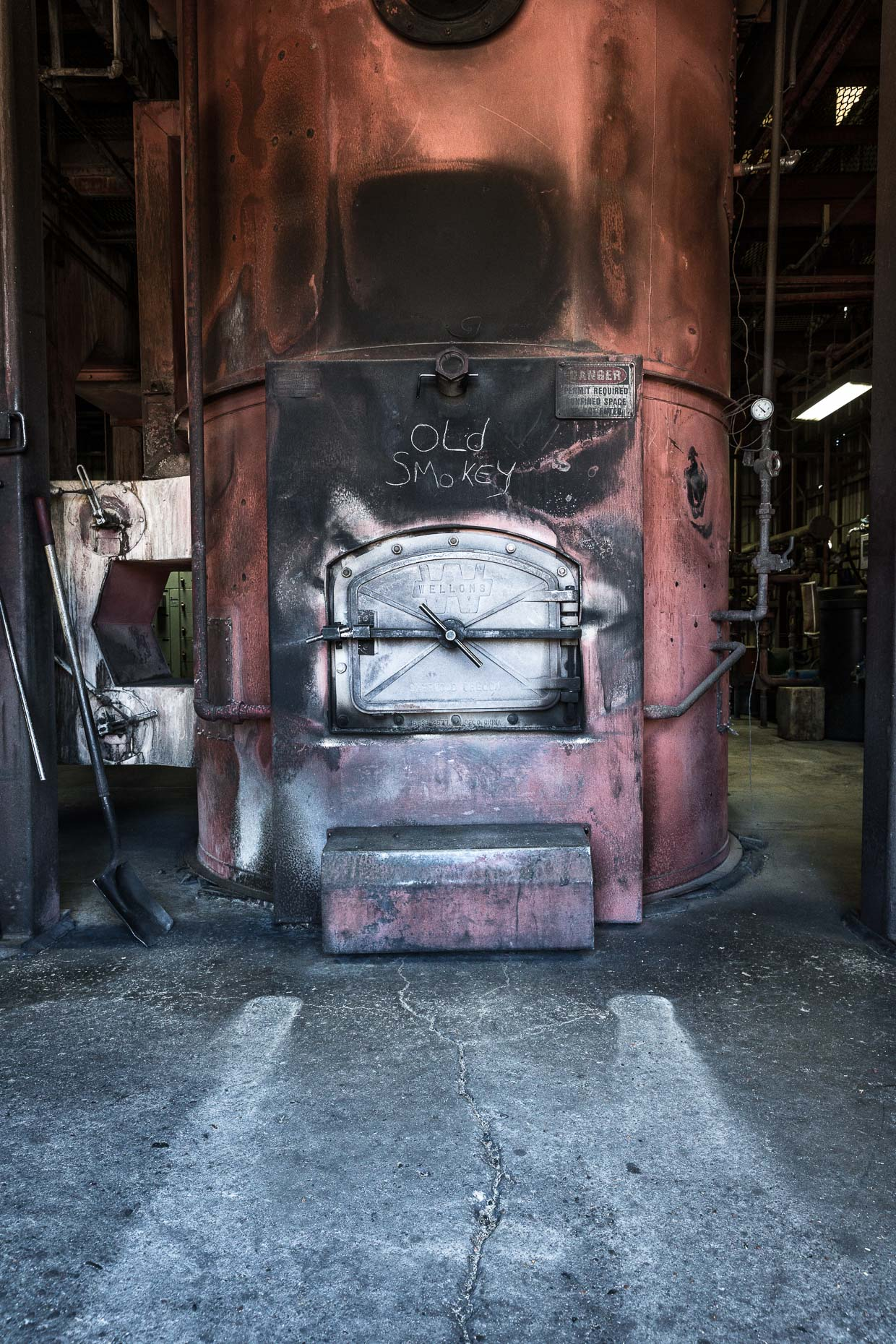 Furnace burner in factory with OLD SMOKEY written on it, Malheur Lumber Company mill in John Day, Oregon by David Zaitz.