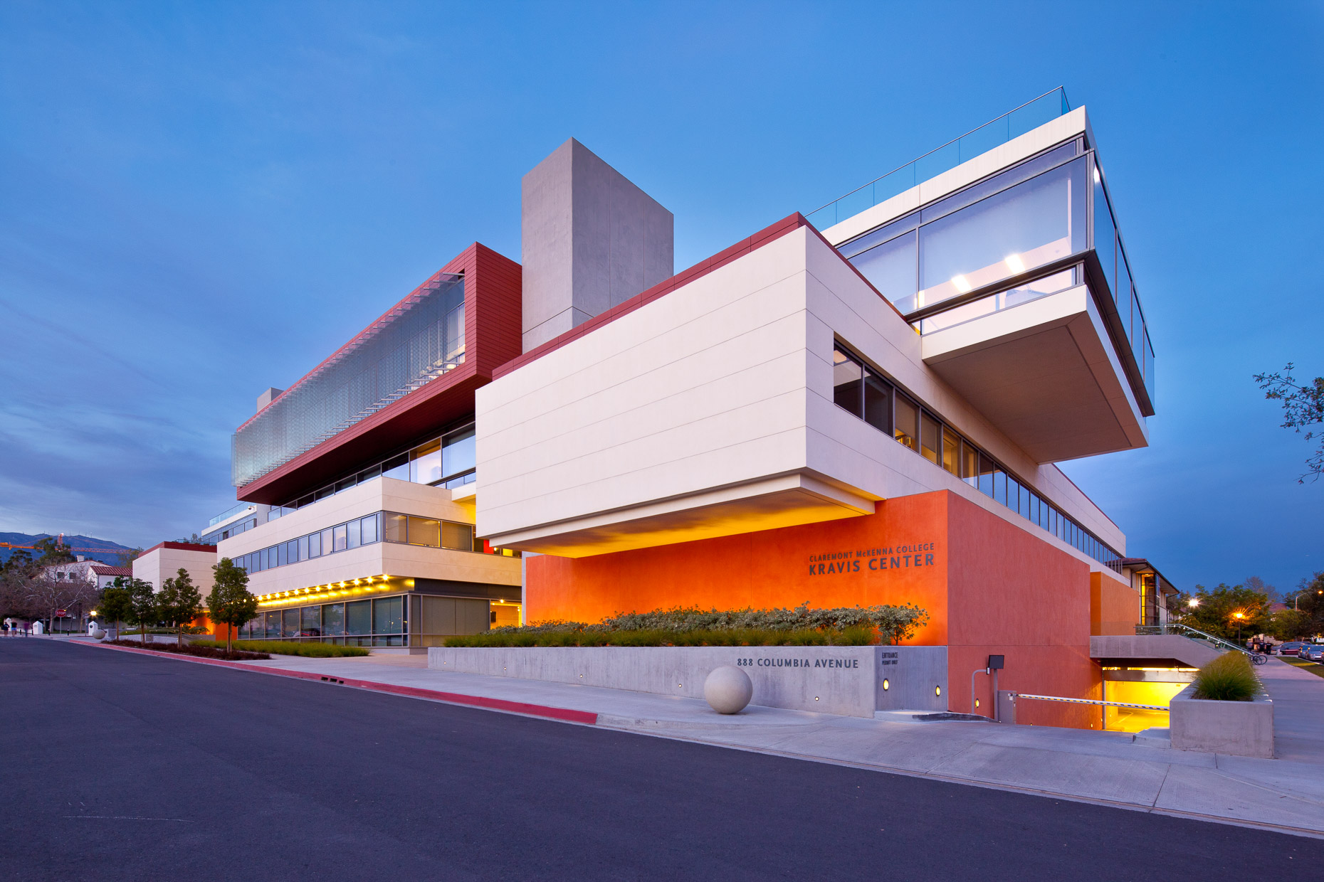 Modern architecture of Kravis Center at Claremont McKenna College in Claremont, California by David Zaitz