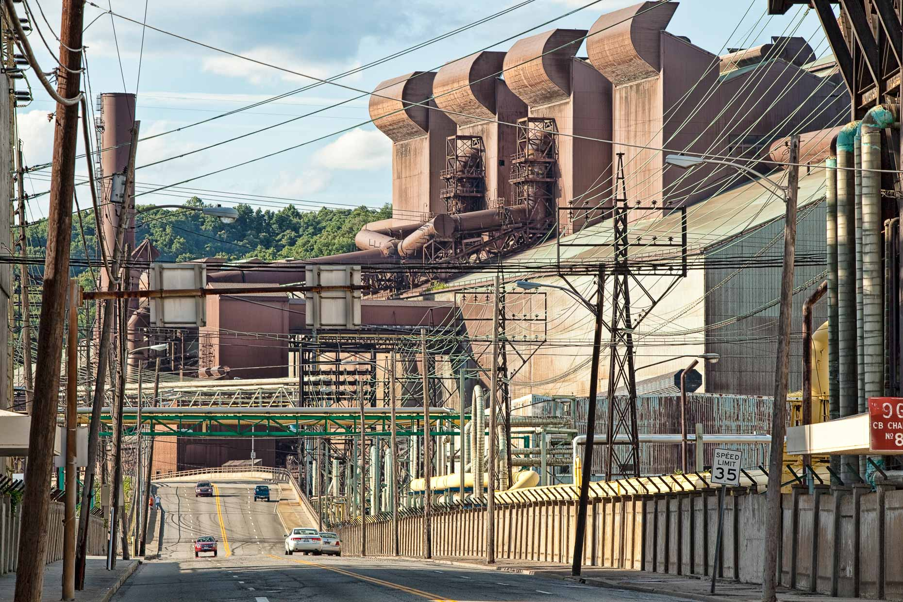 Steel plant factory with street in Weirton, West Virginia by David Zaitz