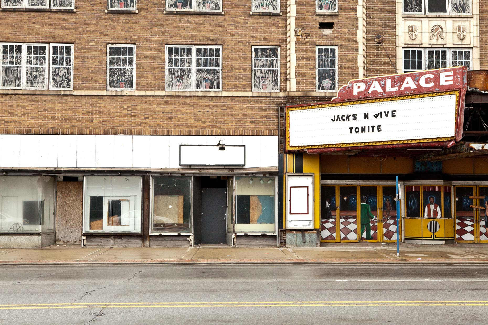 PALACE theater with marquee that reads JACKSON FIVE TONIGHT in Gary, Indiana by David Zaitz