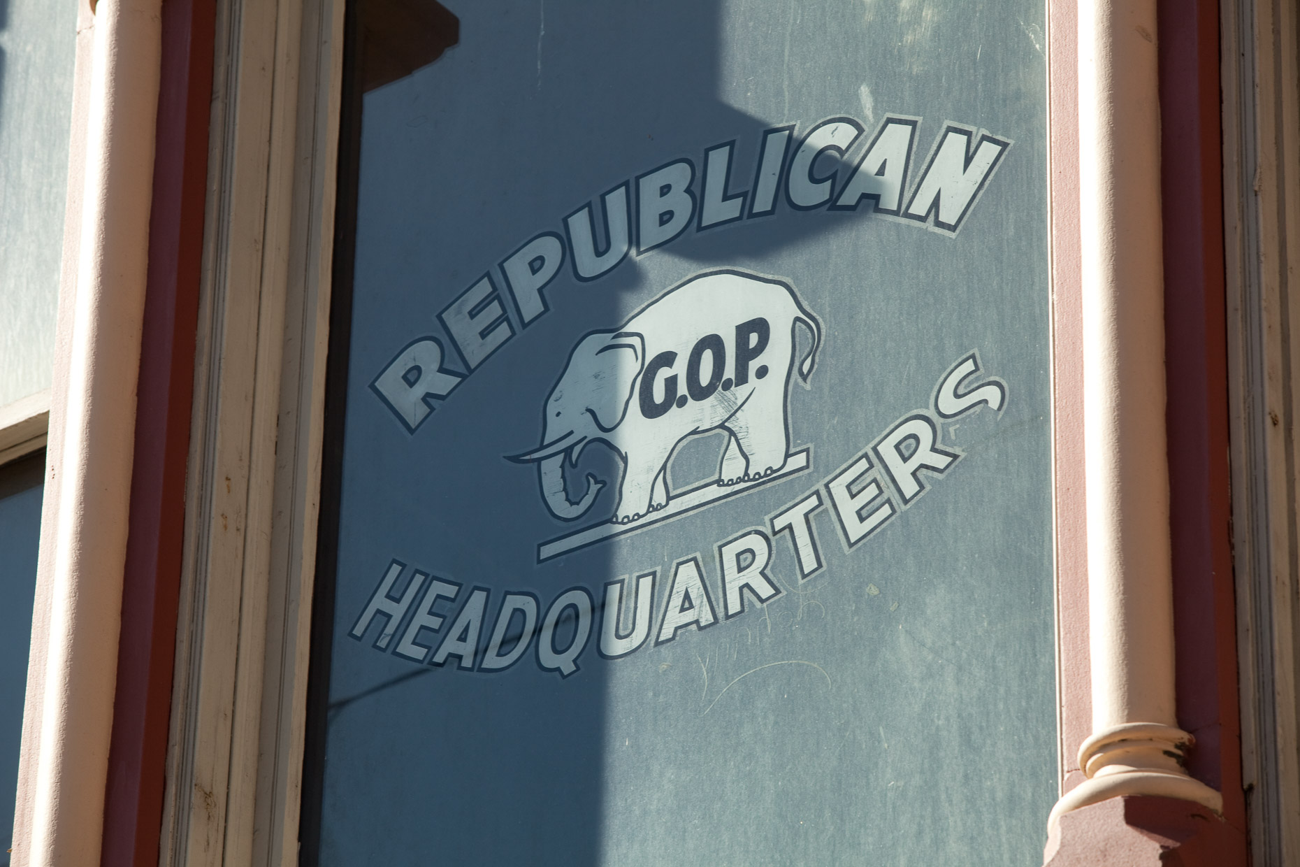 REPUBLICAN HEADQUARTERS sign on window with elephant by David Zaitz