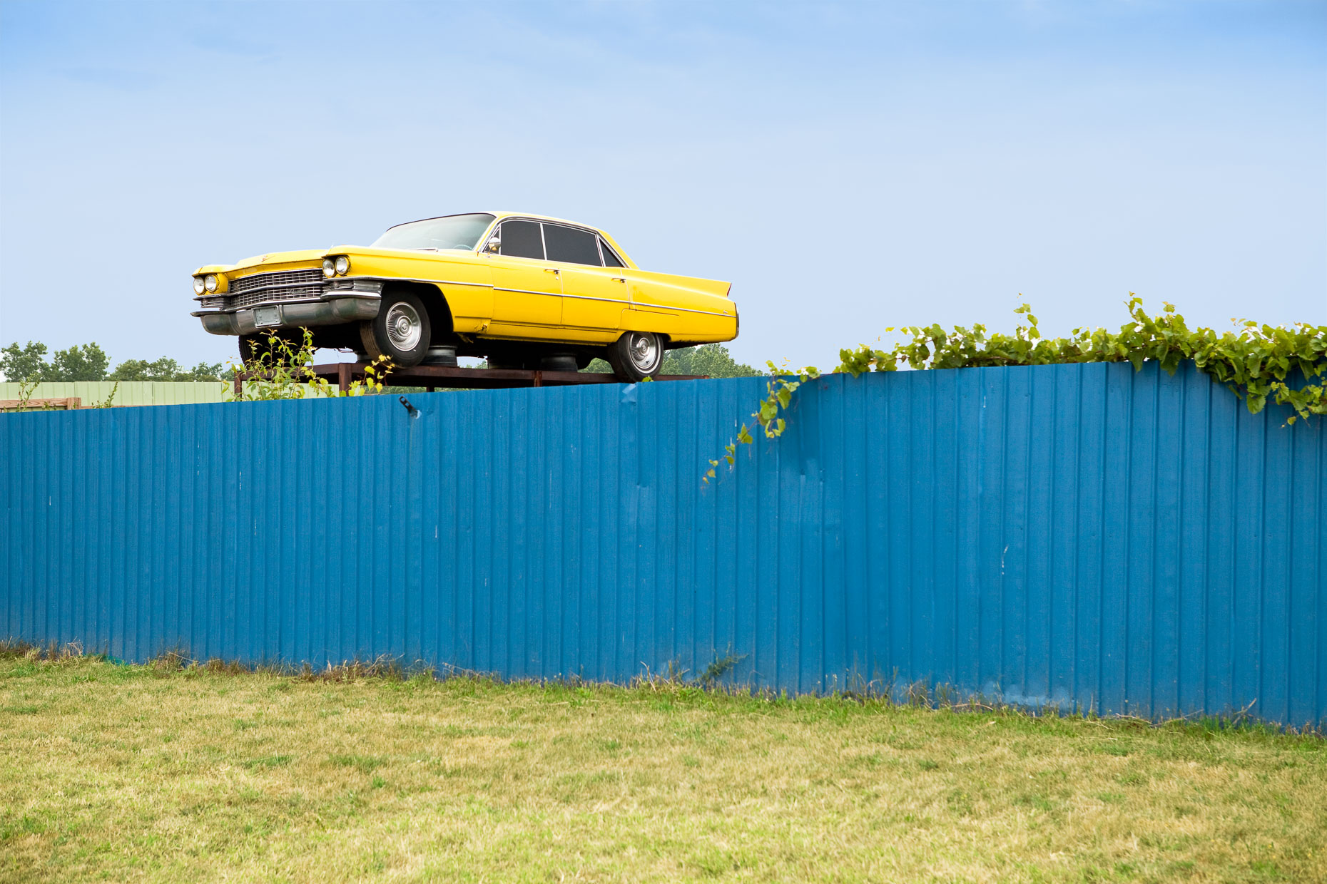 Yellow Cadillac car on top of blue fence at auto wrecking yard by David Zaitz